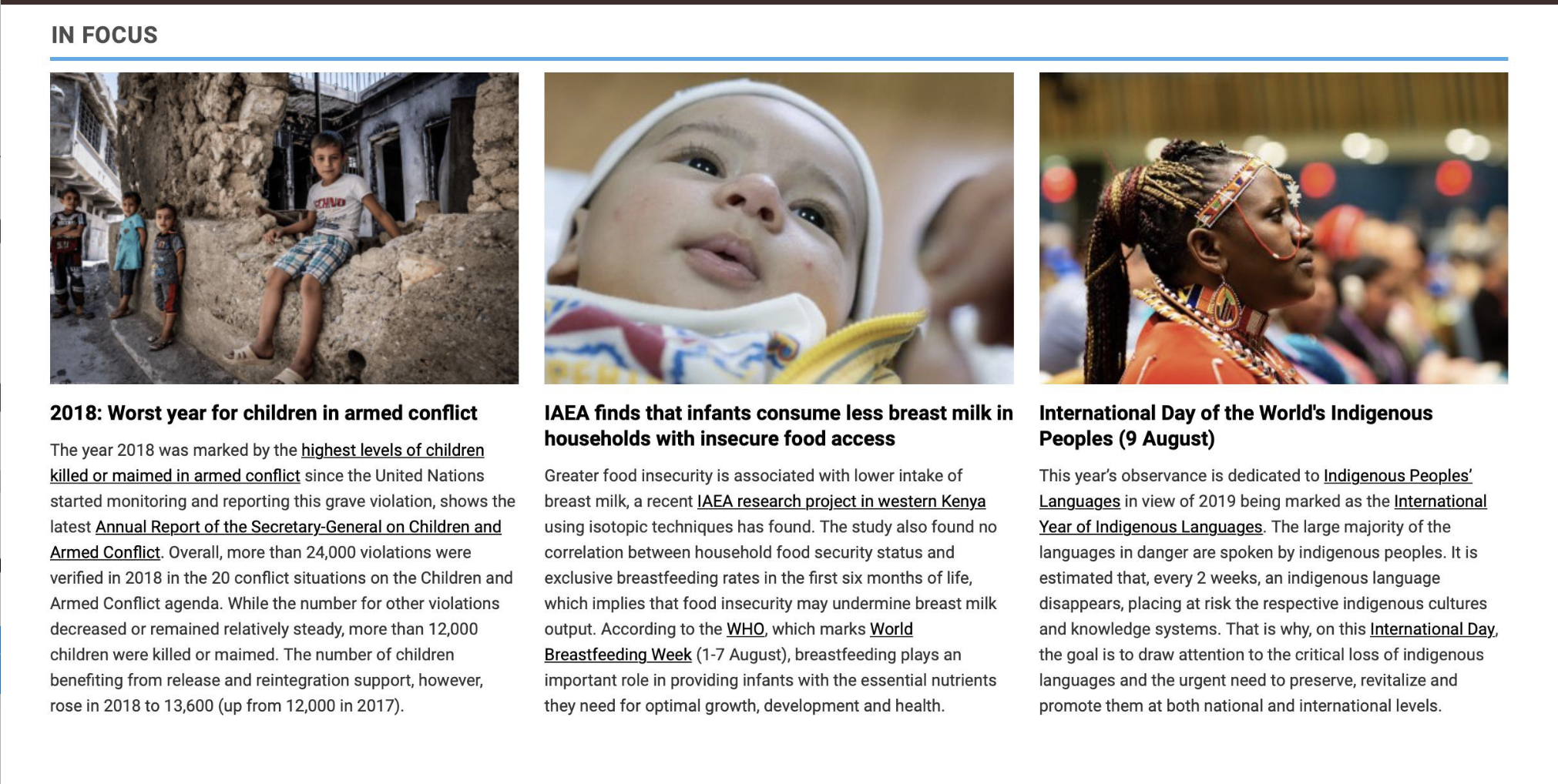 Front Page of UN.org! Our research on food insecurity and breastmilk intake